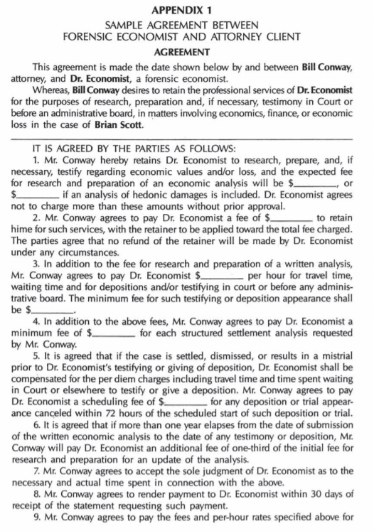 A sample agreement between a forensic economist and attorney
